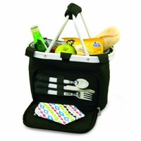 Picnic Time Metro Uno Insulated Tote with Lunch Service for 1, Black