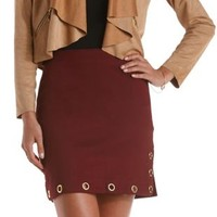 Grommet-Embellished Bodycon Mini Skirt