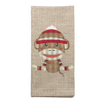 Custom Sock Monkey Baby Shower Gift Cloth Napkin