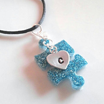 Autism necklace, Autism key chain, personalized jewelry, Autism jewelry, initial necklace, monogram necklace, autism awareness gifts