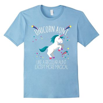 Unicorn Aunt Funny Rainbow T-shirt Stars Friends Gift