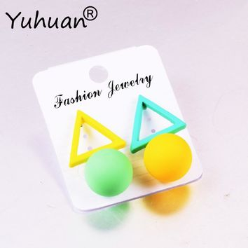 Korean Style Triangle Stud Earrings for Women 2018 New Candy Color Earings Fashion Geometric Jewelry Simple Round Ear Studs