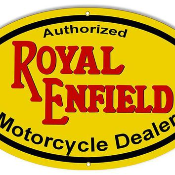 Royal Enfield Motorcycle Dealer Reproduction Sign 15″x24″ Oval