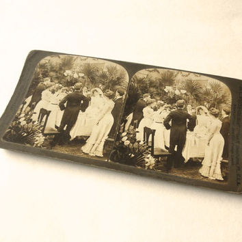 Bride and Groom 1903 Stereograph Card Wedding Reception Toast Antique Sepia Photo Gibson Girls Stereoscopic Stereoview Stereo Card