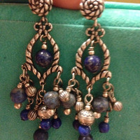 VINTAGE NAVAJO Earrings RELIOS Lapis Sterling Silver Chandelier Bead Native American Roderick Tenorio Carolyn Pollack