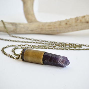 """Amethyst Quartz Crystal Bullet Necklace with 28"""" Brass Chain"""