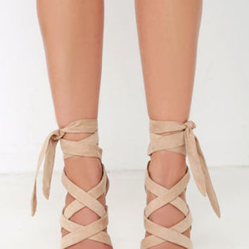 Everybody Can-Can Natural Suede Caged Heels
