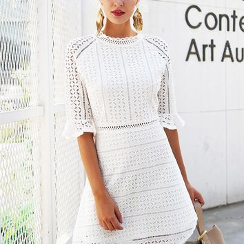 Hollow Out Lace Midi Dress Half Sleeve