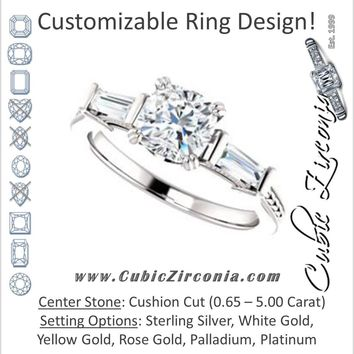 Cubic Zirconia Engagement Ring- The Kimiko (Customizable 3-stone Cushion Cut Design with Baguette Accents and Thin Wheat-Filigree Band)