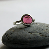 Rose Cut Pink Tourmaline Hammered Band Statement Ring Freeform Flat Passion Ring  OOAK US Size 6 1/2