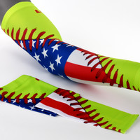 Softball Lace America Flag Arm Sleeves
