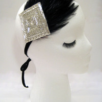 The Dorothy - Great Gatsby feather head piece, 1920s fascinator silver, rhinestone headband, burlesque party hair piece, 1920s style hair