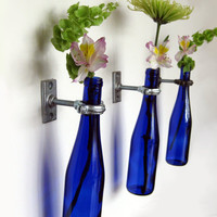 Cobalt Blue Wine Bottle Hanging Flower Vases by GreatBottlesofFire