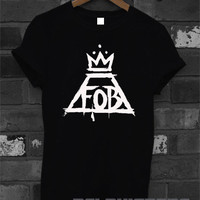 FOB shirt fall out boy logo t-shirt printed black and white unisex size (DL-45)