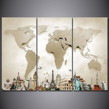 3 Piece Canvas Art Vintage World Map Wall Art on Canvas Print Poster