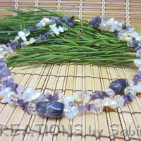 Purple Amethyst Gemstone Pearls Necklace Vintage by CREATIONSbySabine