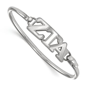 Sterling Silver Zeta Tau Alpha Small Clasp Bangle - 8 in.
