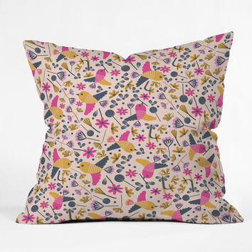 Gabriela Larios Birds and Leaves Throw Pillow