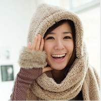Women Winter Warm Soft Plush Faux Fur Hooded Cap Hat Scarves Scarf Gloves Super Sale Cute = 1932924932