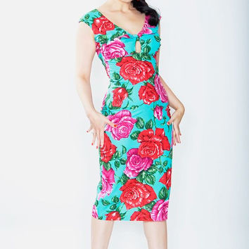 Ruby Twist Turquoise Rose Wiggle Dress XS (LAST ONE!)
