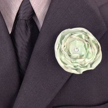 Mint Green Fabric Flower Boutonniere with Swarovski Crystal Rhinestones, Wedding Party, Wedding Boutonniere, Groom's Boutonniere