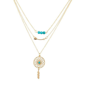 Lux Accessories Gypsy Boho Dreamcatcher Leaf Arrow Beaded Bff Best Friends Forever Necklace Set (3 Pc)