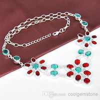 Free shipping -Chain Link 925 silver Necklace Womens Accessories Garnet,Green Amethyst Crystal Necklaces CN0478