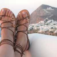 Greek Sandals, Women Strappy leather sandals handmade, Unique design, DEMETRA 01