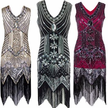 Great Gatsby Vintage Sequined V Neck Beaded Dress
