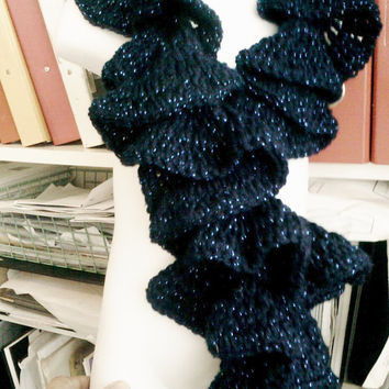 Handmade Crochet RUFFLE and  Twist SCARF Midnight Blue and Sparkly  ID NC71