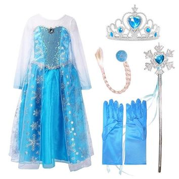 New Girl Elsa Dresses Costume with/without Hair Accessory Set Blue Lace Long Sleeves Kid Sequinned Dresses Children Cosplay