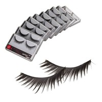 New 10 Pair Reusable Long Fake False Eyelashes Glue Adhesives Eye Lashes Makeup Black 17