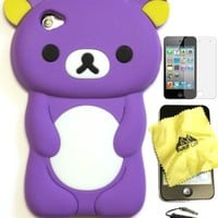 BUKIT CELL (TM) PURPLE Bear 3D Cartoon Soft Silicone Skin Case Cover for IPOD TOUCH 4 4G 4TH GENERATION + Free Screen Protector + Free METALLIC Detachable Touch Screen STYLUS PEN with Anti Dust Plug [bundle - 4 items: case, cloth, stylus pen and screen pro