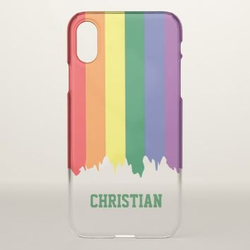 LGBT Gay Pride Rainbow Dripping Paint Personalized iPhone X Case