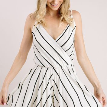 Mina Ivory Striped Romper