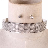 """15"""" silver crystal layered collar choker necklace .50"""" earrings 1"""" wide bridal"""