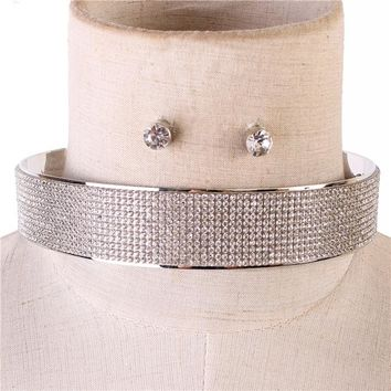 "15"" silver crystal layered collar choker necklace .50"" earrings 1"" wide bridal"