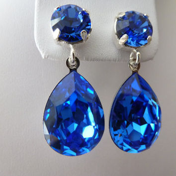 Blue Sapphire Earrings - Blue crystal earrings Crystal Swarovski - Silver Earrings  - sapphire earrings