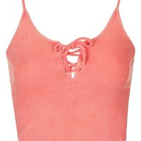 Topshop Lace-Up Ribbed Camisole | Nordstrom