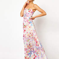 Oasis Painted Print Pleat Front Maxi Dress
