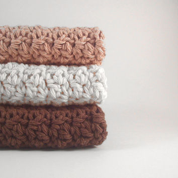Dishcloths Cotton Crochet Natural Colors Jute, Ecru and Warm Brown