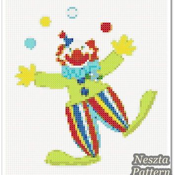 Clown Cross Stitch Pattern, Clown Home decor x stitch pattern, Cross stitch Embroidery, Embroidery pattern