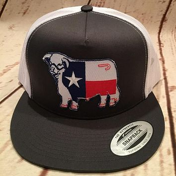 Lazy J Grey and White Texas Flag Hereford Patch Cap Mesh Trucker