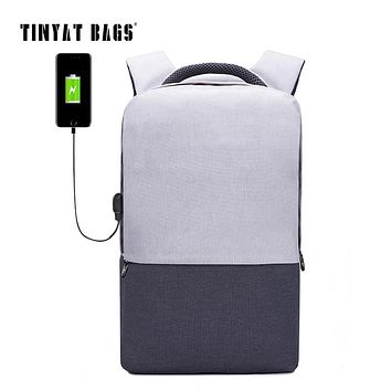 TINYAT Men Laptop shoulder Backpack 15.6 inch Canvas Backpacks Anti-theft School Rucksacks Women daypack Travel Mochila USB T810