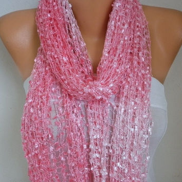 Baby Pink Knitted Scarf, Wedding Shawl,Graduation,Bridal Accessory,Bridesmaid Gift,Cowl Scarf, Gift Ideas For Her, Women Fashion Accessories