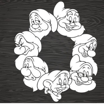 snow white's 7 dwarfs vinyl decal sticker, free shipping!