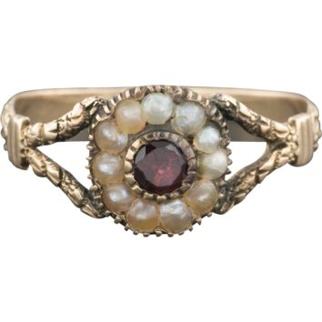 Antique Victorian Garnet & Pearl Ring - 14k Gold, Late Georgian or Early Victorian