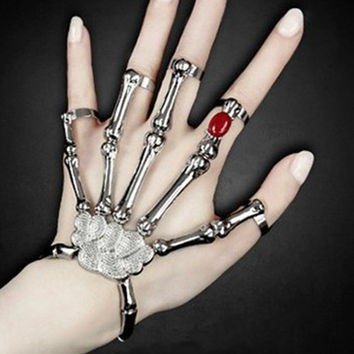 Silver Punk Rock Skeleton Skull Hand Bone Bracelet Goth Skeleton Slave Bones Hand Bracelet for Women Men Jewelry