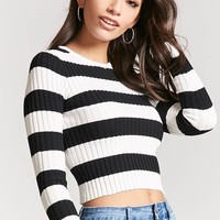 Stripe Ribbed Sweater-Knit Crop Top
