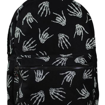 Banned Punk Rock Skeleton Rock Hands All Over Backpack